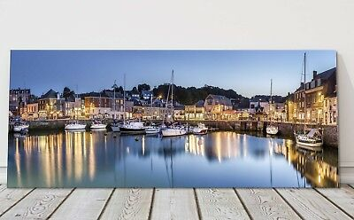 Padstow harbour at night canvas print Cornwall framed picture