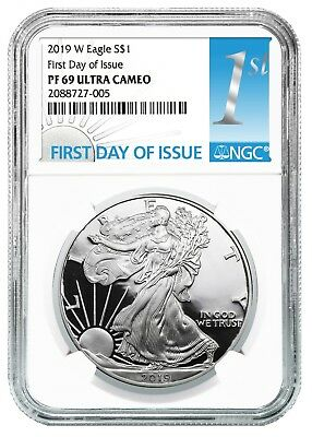2019 W 1oz Silver Eagle Proof NGC PF69 UC White Core First Day Issue
