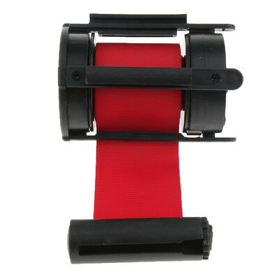 Stanchion with Retractable Belt Queue Crowd Control Barrier Wall Mount Red
