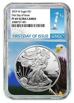 2019 W 1oz Silver Eagle Proof NGC PF69 UC Eagle Core First Day Issue