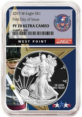 2019 W 1oz Silver Eagle Proof NGC PF70  West Point Core First Day Issue