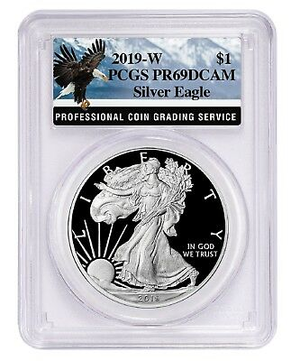 2019 W 1oz Silver Eagle Proof PCGS PR69 DCAM - Eagle Label