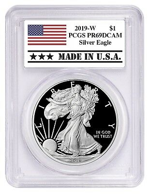 2019 W 1oz Silver Eagle Proof PCGS PR69 DCAM - Made In USA Label