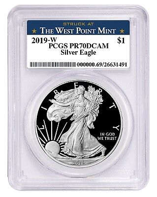 2019 W 1oz Silver Eagle Proof PCGS PR70 DCAM - West Point Label