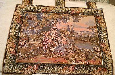 REDUCED! Large Vintage French Wall Hanging Tapestry-Boy playing the flute