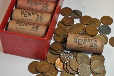 3 Rolls @ 25 cents OBW CHASE BANK SHORT Lincoln Wheat Penny Cent Roll 1909 1958