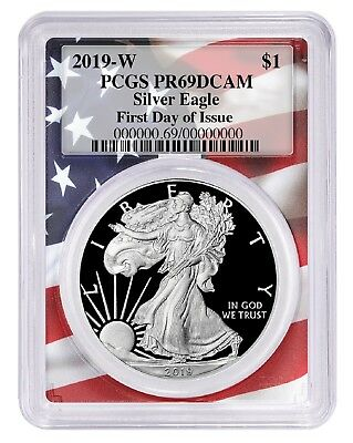 2019 W 1oz Silver Eagle Proof PCGS PR69 DCAM First Day - Flag Frame
