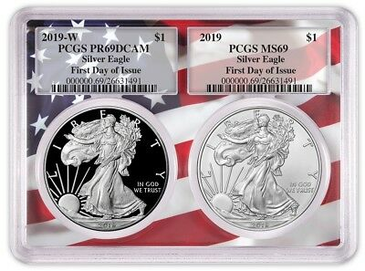 2019 1oz Silver Eagle Two Coin Set PCGS PR69 MS69 First Day Issue Flag Frame
