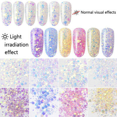DIY Nail Glitter Sequins Holographic Fluorescent Various Nail Art 3D Decoration