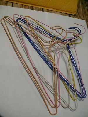 10 vintage vinyl coated wire hangers, assorted colors, 15""