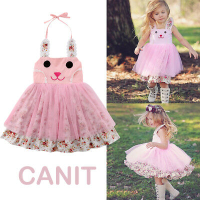 US Baby Girl Easter Bunny Dress Floral Party Outfit Princess Tulle Tutu Sundress