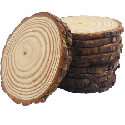 10pcs Wood Slices 4-4.7 inch Unfinished Natural with Tree Bark Diameter Large...