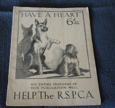 1931 Have A Heart Magazine Help The Rspca During The Depression