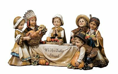 Joseph's studio Pilgrim and Indian Kids at Table Figurine We are Truly Blessed
