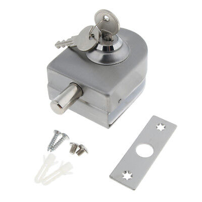 Stainless Steel Door Locking System with 2 Keys for Toughened/Tempered Glass