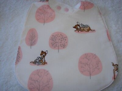 Bambi Forest Scene Pink Baby Bib Cotton Front Towelling Back Handmade