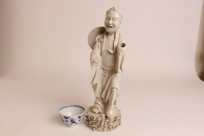 Antique Chinese Porcelain white glased Blanc de Chine Figure of Luohan 18th C