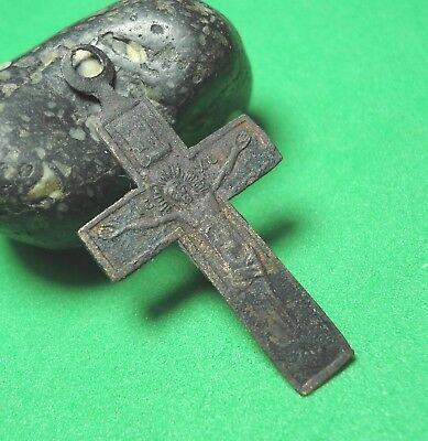Ancient Bronze Cross Wearable Pendant Antique Rare C128