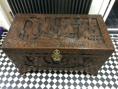 Camphor Wood Chest - With Original Lock, Hand Carved. Blanket Box, Storage Box