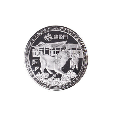 Silver plated Chinese zodiac pig anniversary commemorative coins souvenir coin*t