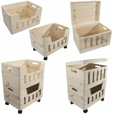 1-3 Tier Large Wooden Stacking Storage Boxes Crates Chest Trunk Cut-out Front