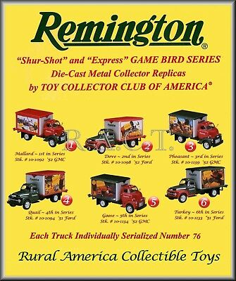 "Six REMINGTON ""Game Bird"" Trucks w/Matching Serial Numbers ~ # 76 First Gear"