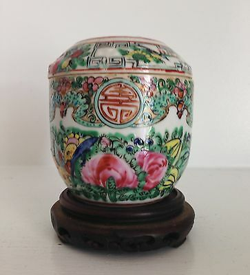 """Old Chinese Porcelain Famille Rose Medallion Jar Box """"Made in China"""" ~Old Stand~"""