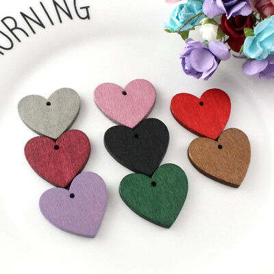 50pcs Lovely Color Painted Wooden Heart Shape 3mm Hole Beads Findings Craft