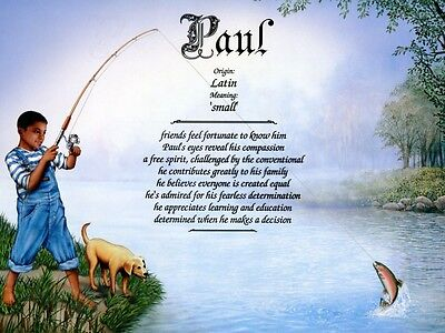 """""""First Catch 2"""" Name Meaning Print (Child, Fishing, African-American)"""