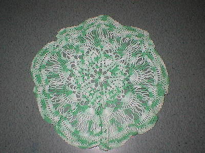"""Vintage 16"""" Variegated Green Crocheted Doily"""