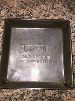 Vtg Snow King Baking Powder Square 25oz Baking Tin