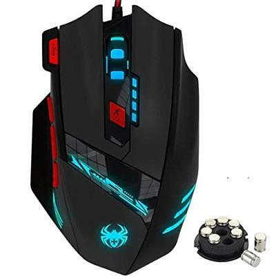 ZELOTES Gaming Maus, 9200 DPI Gamer Maus,8 Tasten,13 LED Licht Modi USB Wired
