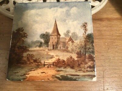 Superb Handpainted Antique Tile Circa 1890 rural scene with church