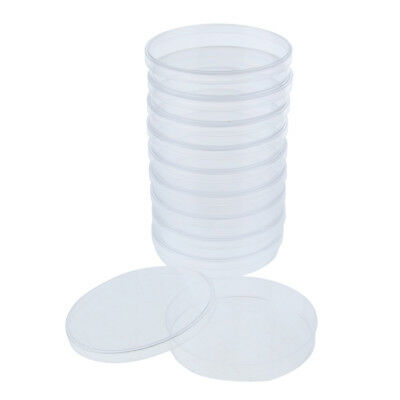 10 Pcs Plastic Petri Dishes Culture Dish with Lid, Hard, Crystal Clear 90mm