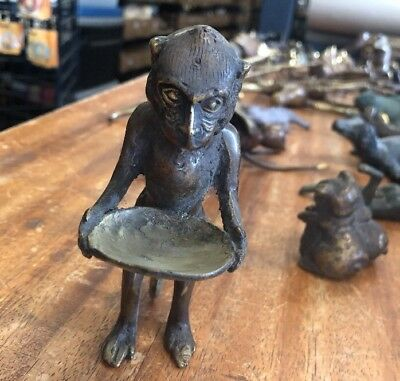 Monkey Weird Freaky Mystical Bronze Statue With Offering Dish Vintage Patina