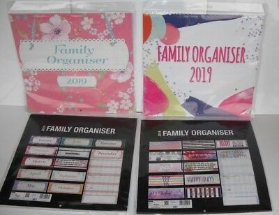 2019 Family Organiser Planner Wall Calendar with 5 Columns Gift Square