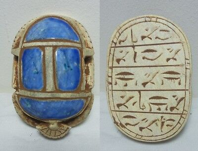 ANCIENT EGYPTIAN ANTIQUE SCARAB Carved White Carved Stone 1356-1226 BC