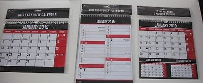 2019 Hanging Wall Calendar Large Month to View -Three Months to View- Engagement