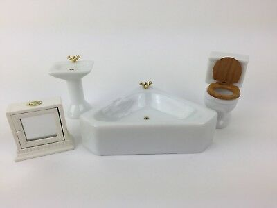 White Ceramic Bathroom Set Furniture Dollhouse Miniature 1/12 Scale
