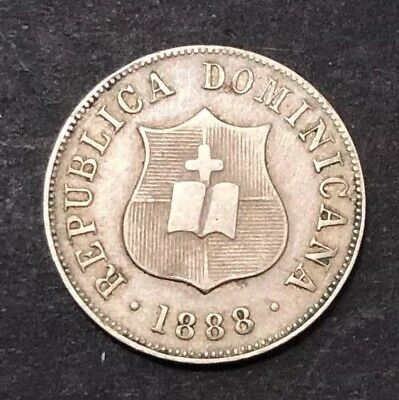 Dominican Republic 2 1/2 Cents 1888 HH Variety Very Scarce