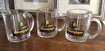 Set of 3 Vintage German Barenjager Honey Ligueur glasses - 12 ounce