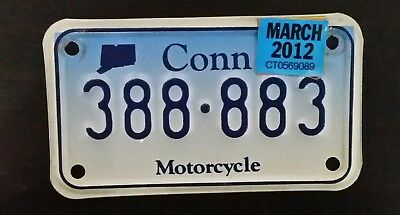 2012 Connecticut Motorcycle License Plate Palindrome