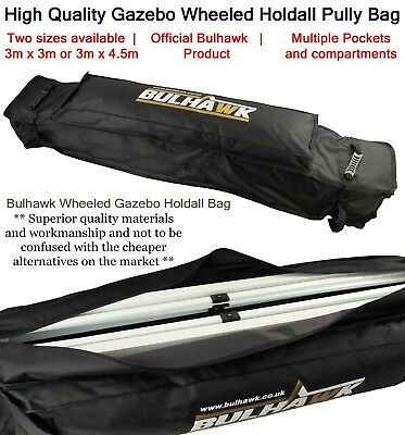BULHAWK® 3 x 3m or 3 x 4.5m HEAVY DUTY GAZEBO WHEELED HOLDALL PULLY CARRY BAG