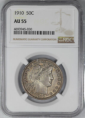 1910 Barber Half Dollar 50C Ngc Certified Au 55 About Uncirculated (030)