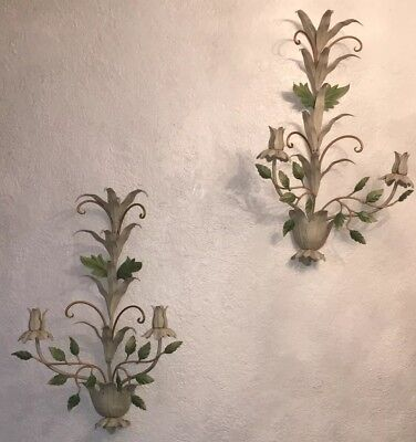 Large Pair of Vintage Painted Metal Toleware Candle Wall Sconces