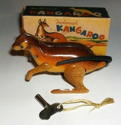 Vintage Linemar Mechanical Wind Up Metal Tin Kangaroo Toy With Box Works Great!