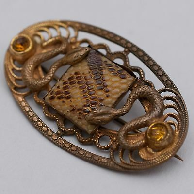 Antique Vintage Art Deco Egyptian Revival Czech Glass Snake Skin Jewel Brooch