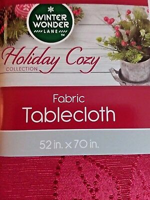 "Christmas Fabric Tablecloth 52 x 70"" Red Poinsettia Print Winter Wonder Lane NEW"