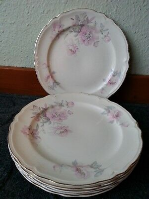Vintage Edwin Knowles China Dinner Plates Pink Floral  Semi Vitreous, collectib
