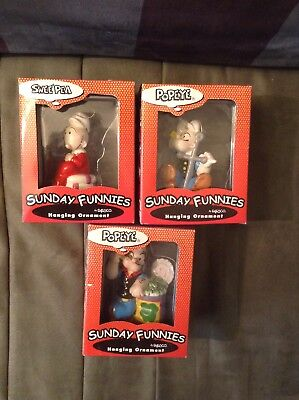 3 Sunday Funnies 2 Popeye & Swee Pea 2000 Enesco Cristmas Ornament's New